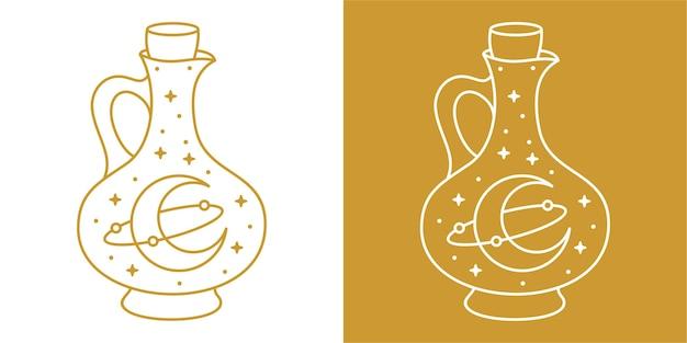 Univers monoline dessiné à la main dans une bouteille