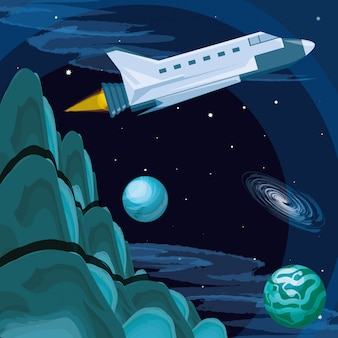 Univers et vol de fusée spatiale