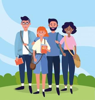 Universitaires femmes et hommes munis de livres d'étude et de sacs à dos
