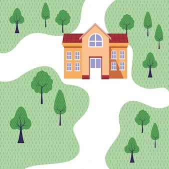 Université, bâtiment, dans, parc, topview