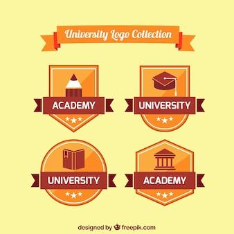 Université rétro logos paquet en design plat