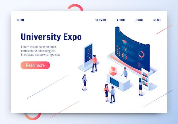 University expo 3d isométrique vector illustration.