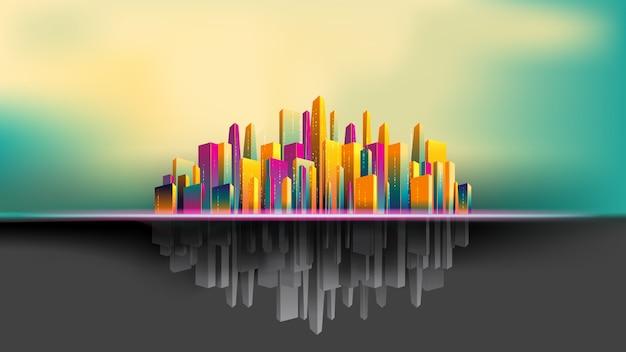 Upside down city, bâtiment coloré et gris beau fond