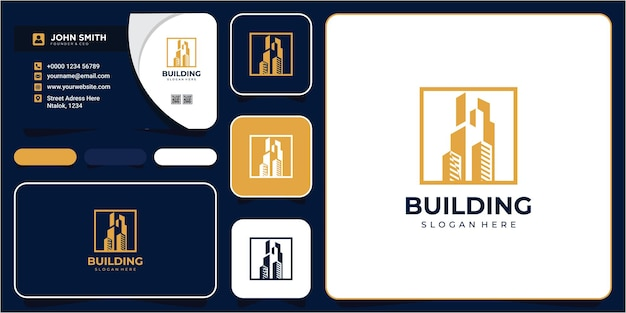 Urban city apartment building real estate business chart logo design avec carte de visite