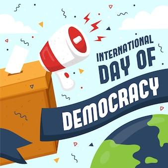Urne et mégaphone de la journée internationale de la démocratie