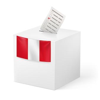 Urne avec papier de vote. drapeau du pérou.