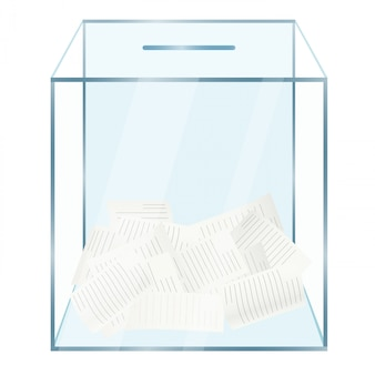 Urne en verre avec bulletins de vote