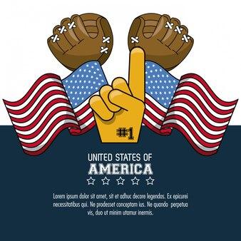 Usa baseball sport jeu gant fan avec drapeaux affiche avec information vector illustration graphique des
