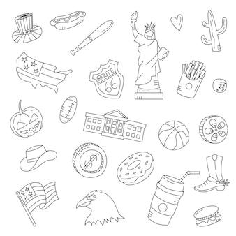 Usa country nation doodle ensemble de collections dessinées à la main avec illustration vectorielle de contour style noir et blanc