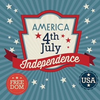 Usa label (fête de l'indépendance) sur fond vintage