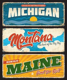 Usa montana, l'état de l'amérique du michigan et du maine metal grunge plaques rouillées