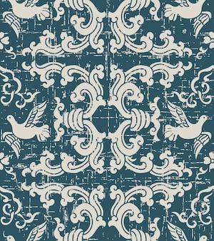 Usé modèle sans couture antique avec pigeon vague en spirale rétro