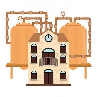 Usine de bière icône image design