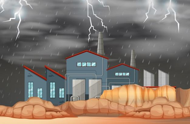Usine dans une scène de mauvais temps