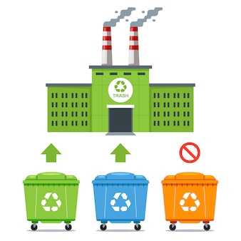 Usine écologique pour le traitement de certains types de déchets. illustration plate.