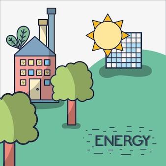 Usine avec énergie solaire et arbres