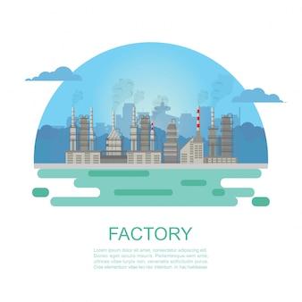 Usine industrielle et bâtiment.