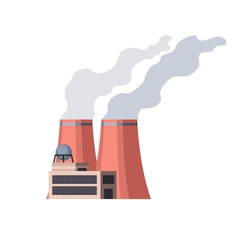 Usine industrielle. usine de raffinerie de bâtiment industriel de manufacture ou centrale nucléaire. complexe de bâtiments d'usine chimique isolé sur fond blanc