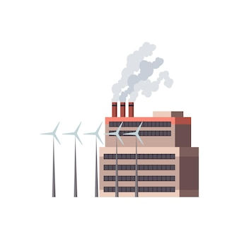 Usine industrielle. usine de raffinerie de bâtiment industriel de manufacture ou centrale nucléaire. complexe de bâtiments d'usines chimiques isolés sur fond blanc.