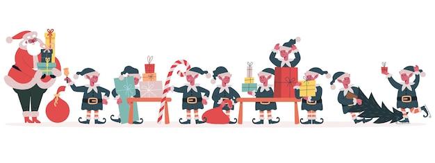Usine de lutins de noël les elfes du père noël emballent un cadeau de vacances aides du père noël avec des cadeaux de noël