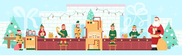 Usine de noël de jouets et de cadeaux avec des elfes et illustration vectorielle plane du père noël