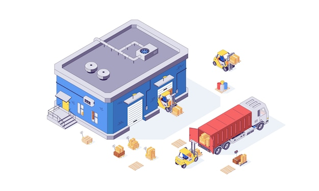 Usine de palette et de chariot élévateur de cargaison de boîte d'entrepôt isométrique. illustration des marchandises de livraison. caisses chariots élévateurs transpalettes isolés sur fond blanc. concept logistique