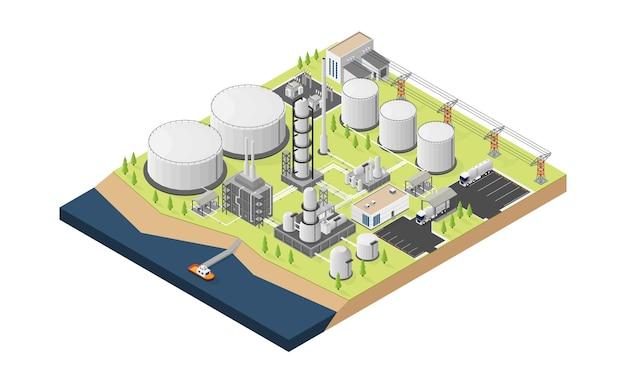 Usine de raffinerie de pétrole avec style isométrique