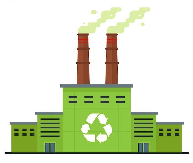 Usine de recyclage des déchets sur blanc