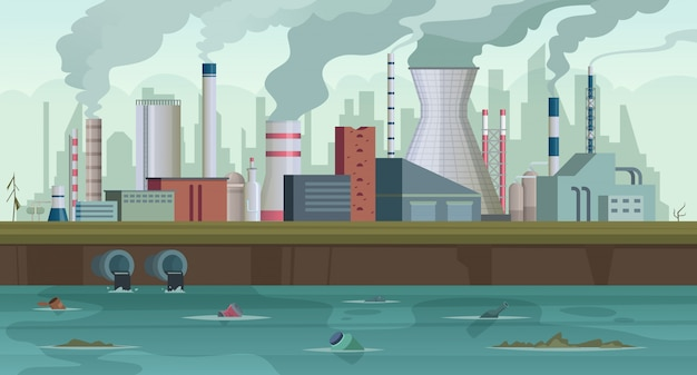 Usine sale. corbeille et fumée de la production d'usine urbaine pollution de la rivière smog de la ville en arrière-plan concept ciel