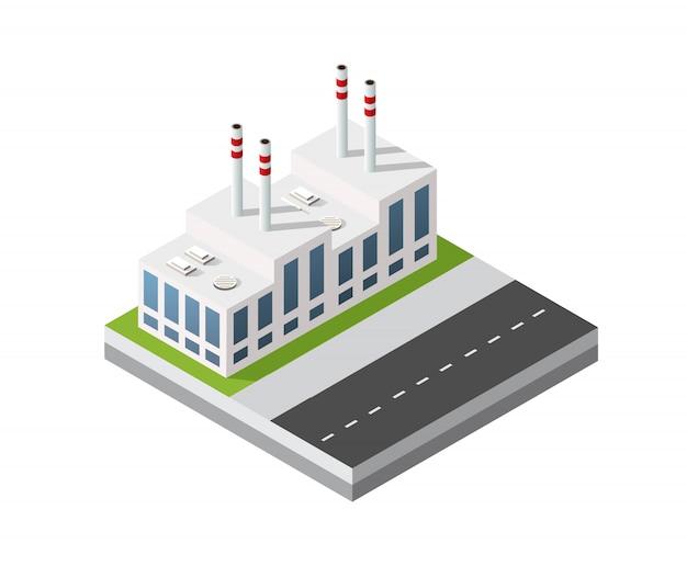 Usine urbaine industrielle de module de ville isométrique