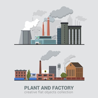 Usine d'usine de l'industrie lourde avec de la fumée au-dessus de la cheminée polluant l'atmosphère plate illustration vectorielle.
