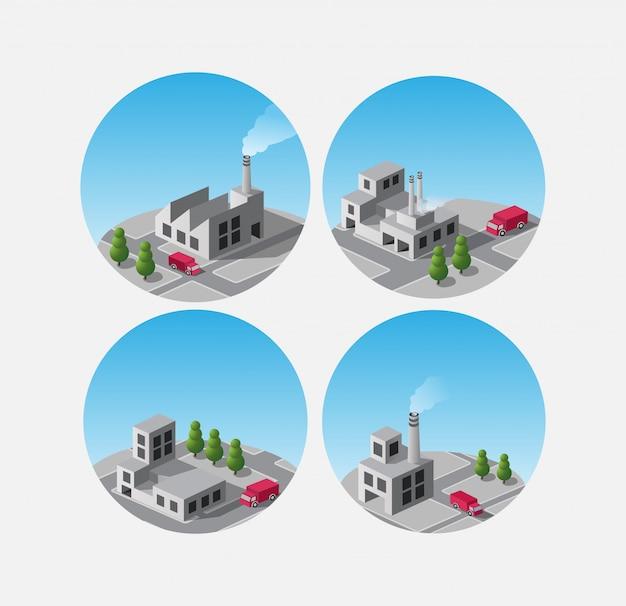 Usines de construction isométrique