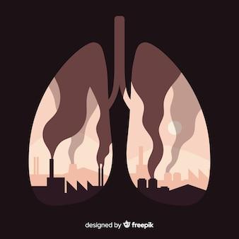 Usines et fume à l'intérieur des poumons