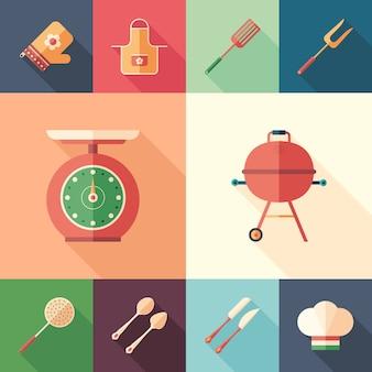 Ustensiles de cuisine et grillades ensemble d'icônes plates carrées.