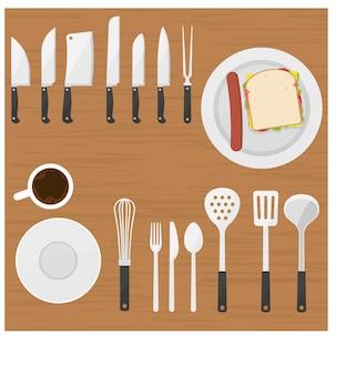 Ustensiles de cuisine sur l'illustration vue de dessus de table