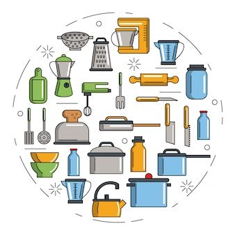 Ustensiles de cuisine infographie sur fond blanc