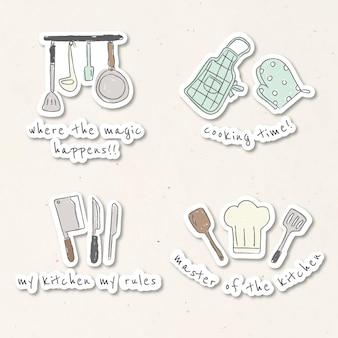Ustensiles de cuisine mignons doodle autocollants set vector