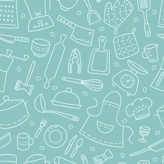 Ustensiles de cuisine et vaisselle. cuisinier. modèle sans couture. illustration dessinée à la main