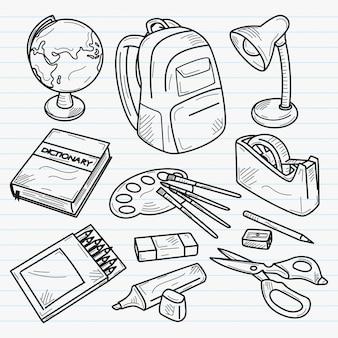 Ustensiles d'école illustration dessinée à la main