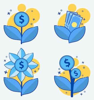 Usure d'argent, intérêt, icône de vecteur