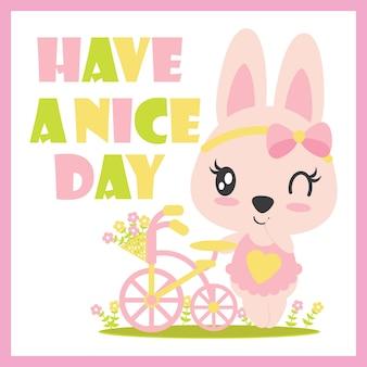 Ute bébé lapin sourit fond vecteur dessin animé illustration pour enfant design, carte postale et fond d'écran