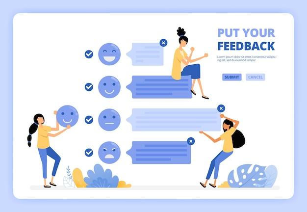 L'utilisateur fournit des commentaires et des commentaires sur les services à l'aide de l'émoticône de visage