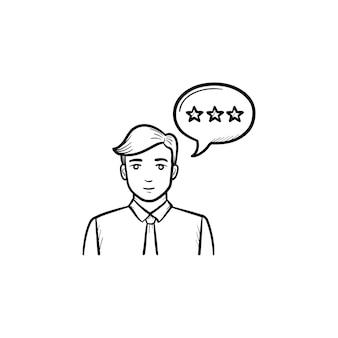 Utilisateur avec icône de doodle contour dessiné à la main bulle discours. communication, discours client, concept d'entreprise. illustration de croquis de vecteur pour l'impression, le web, le mobile et l'infographie sur fond blanc.