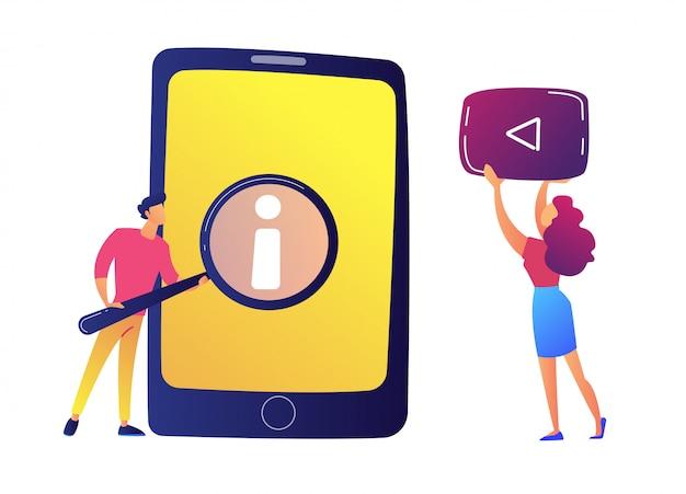 Utilisateur avec loupe en regardant le guide de l'utilisateur sur tablette et illustration vectorielle vidéo.