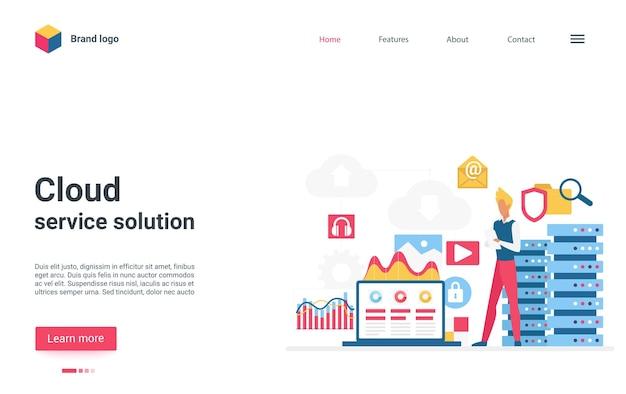 Utilisateur de la page de destination de la solution de service cloud