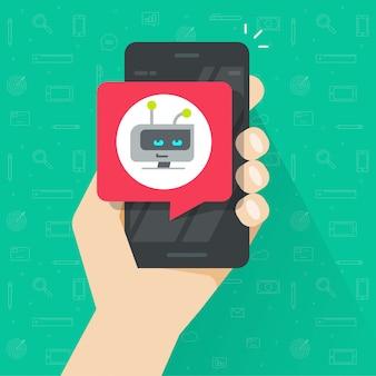 Utilisateur tenant un smartphone ou un téléphone portable avec chatbot chat bulle illustration vectorielle design plat de bande dessinée