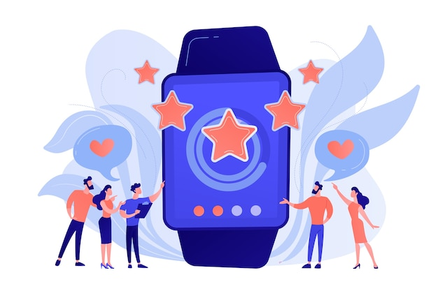 Les utilisateurs avec un cœur comme une énorme smartwatch avec des étoiles de notation. montre intelligente de luxe, montre de mode et concept de mode de vie de luxe illustration isolée de bleu corail rose