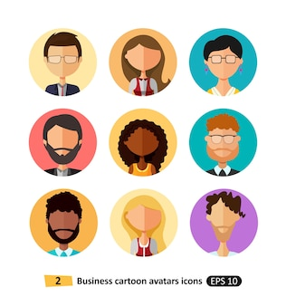 Les utilisateurs des icônes plats avatars les gens d'affaires de bureau mis