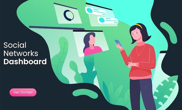 Utilisateurs de médias sociaux, réseaux, appareils numériques, abonnés, pages de destination