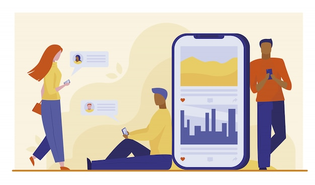 Utilisateurs de smartphones discutant en ligne